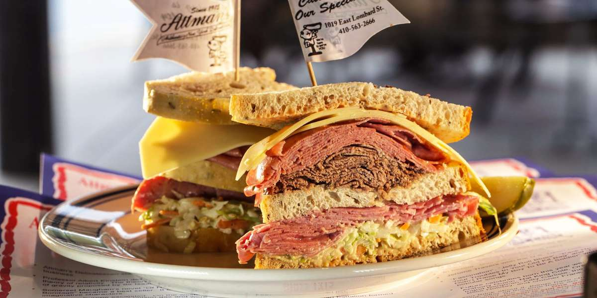 In 1915, we established a reputation as Baltimore's leading delicatessen. After nearly a century and three generations, we've proudly maintained our title. We're not just a deli, we're a family tradition -- and we promise you'll taste the difference whether you order corned beef, kugel, or Seymour's fried chicken. - Attman's Delicatessen