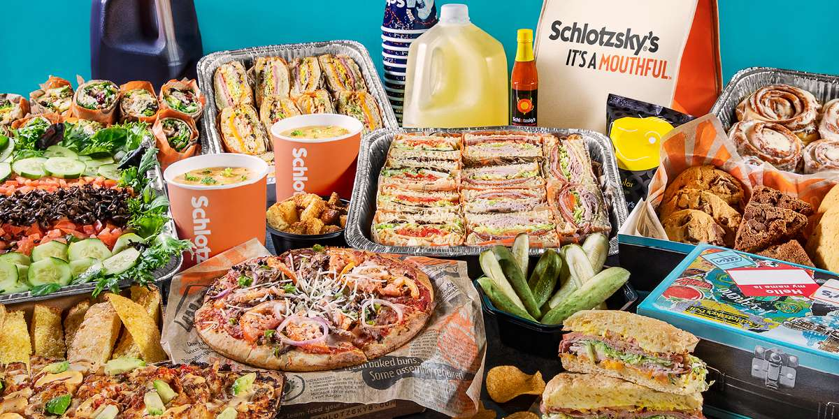 """We started in 1971 as a humble Texan restaurant offering a single sandwich. We now have locations in 36 states offering sandwich trays, pizza box lunches, and a variety of Cinnabon desserts. Make your next meeting """"Lotz Better"""" with us.  - Schlotzsky's"""