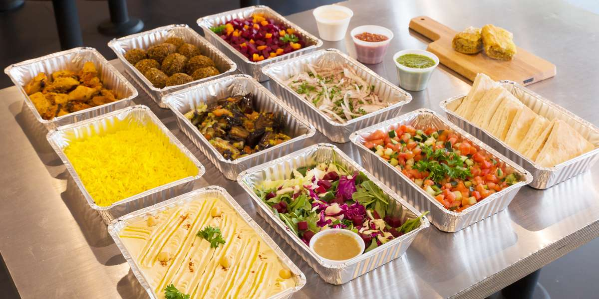 We offer classic Mediterranean crowd-pleasing dishes, like shawarma, falafel, and fresh sides! Our simple catering menu lets you customize your own pita sandwich or rice bowl with meats and vegetables topped with delicious sauces.  - Sajj