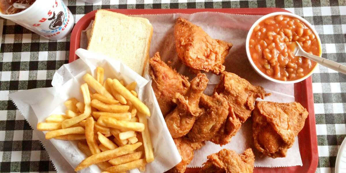 After almost 60 years in the business, Gus's World Famous Fried Chicken is more of a tradition than a location, more an identity than a restaurant. Our chicken is crispy golden-brown on the outside, moist and succulent on the inside, and spiced just right, every time.  - Gus's World Famous Fried Chicken