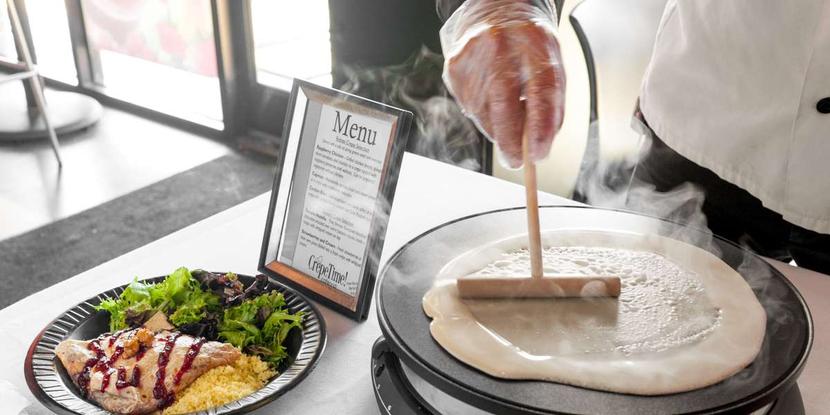 Impress your guests with a chef! We'll ensure your guests get exactly what they want.Crepes catering is FAST!Be memorable to your clients with a tasty, hot, custom mealin the short time they have available for lunch or breakfast.  - CrepeTime!: A Coffee & Crepes Company