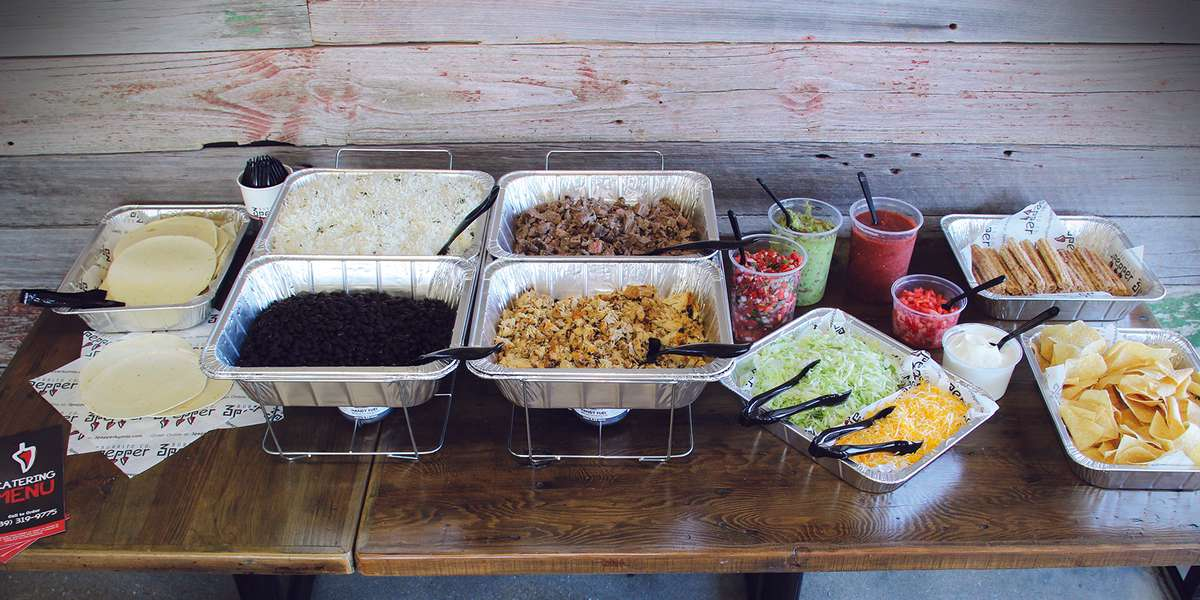 Locally-sourced ingredients, tortillas made from scratch, and hot-pressed burritos; that's a small glimpse into our kitchen. Our all-inclusive taco and burrito boxed lunches are the perfect way to find out more.  - 3 Pepper Burrito